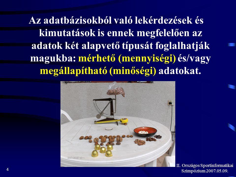 II. Országos Sportinformatikai Szimpózium 2007.05.09. 25 www.hupe.hu/ozsvathk/