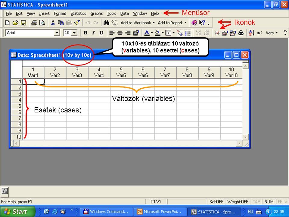 Menüsor Ikonok 10x10-es táblázat: 10 változó (variables), 10 esettel (cases) Változók (variables) Esetek (cases)