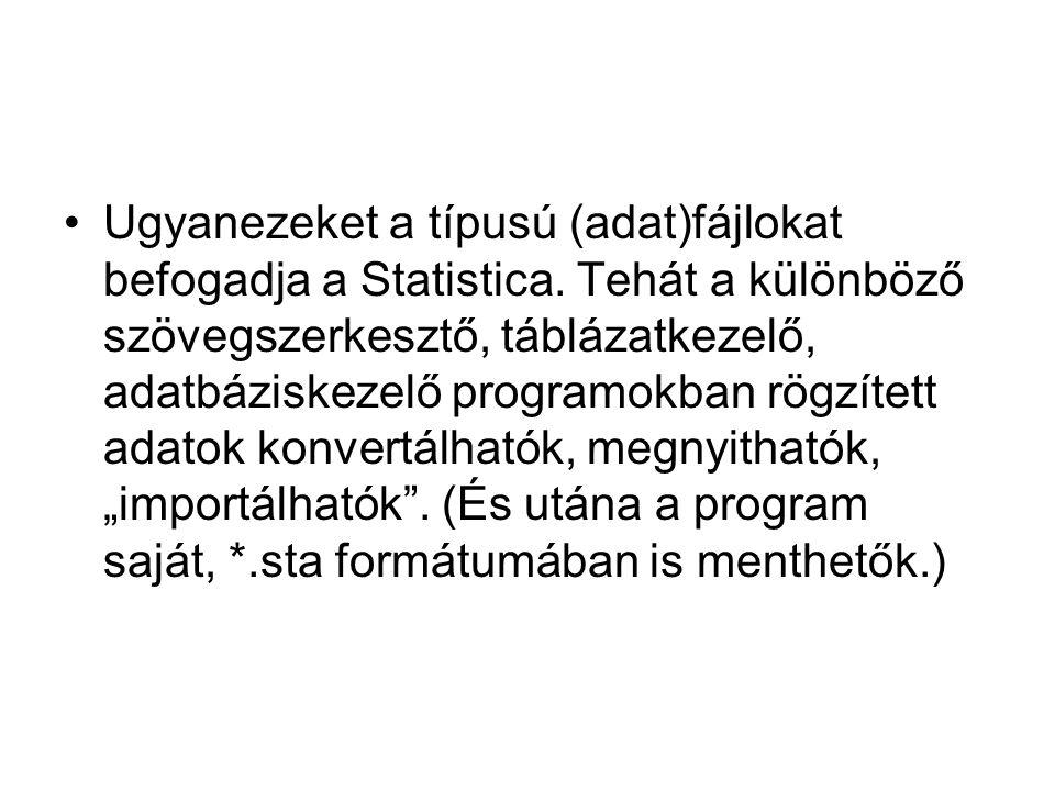 Ugyanezeket a típusú (adat)fájlokat befogadja a Statistica.