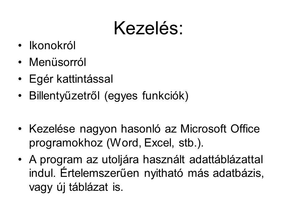 Kezelés: Ikonokról Menüsorról Egér kattintással Billentyűzetről (egyes funkciók) Kezelése nagyon hasonló az Microsoft Office programokhoz (Word, Excel, stb.).
