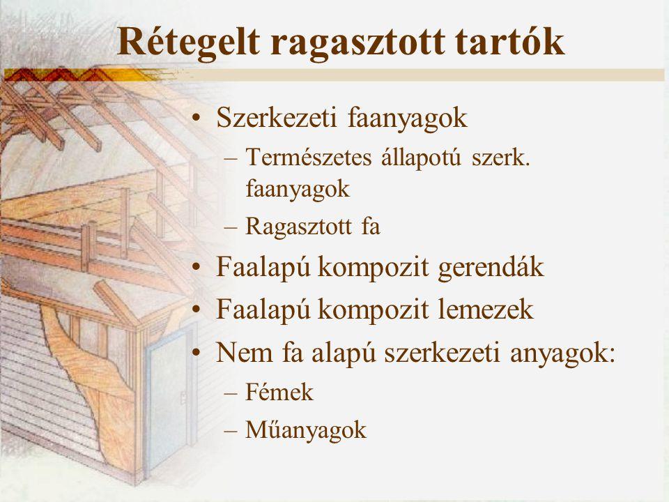 Szerkezeti faanyagok –Természetes állapotú szerk. faanyagok –Ragasztott fa Faalapú kompozit gerendák Faalapú kompozit lemezek Nem fa alapú szerkezeti