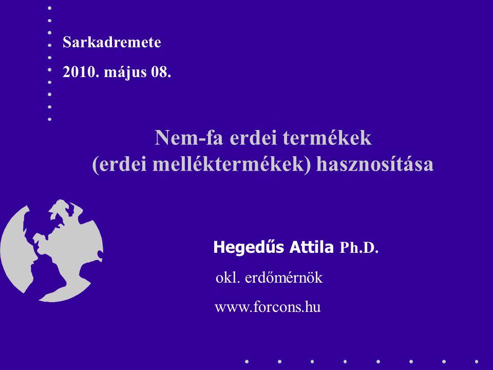 Nem-fa erdei termékek (erdei melléktermékek) hasznosítása Hegedűs Attila Ph.D. okl. erdőmérnök www.forcons.hu Sarkadremete 2010. május 08.