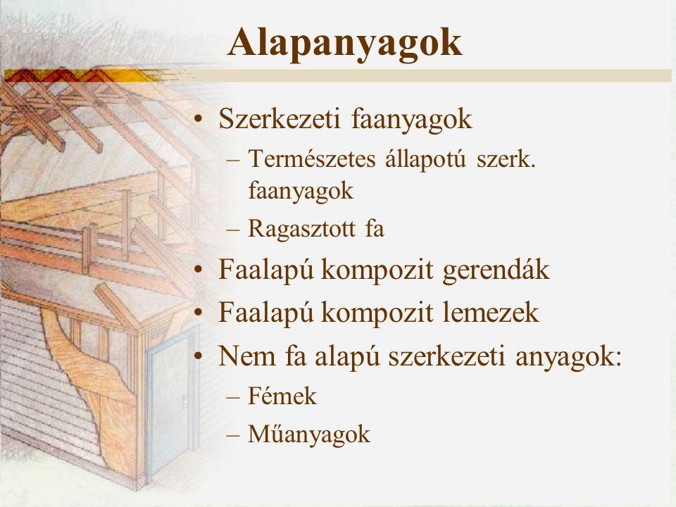 Alapanyagok Szerkezeti faanyagok –Természetes állapotú szerk. faanyagok –Ragasztott fa Faalapú kompozit gerendák Faalapú kompozit lemezek Nem fa alapú