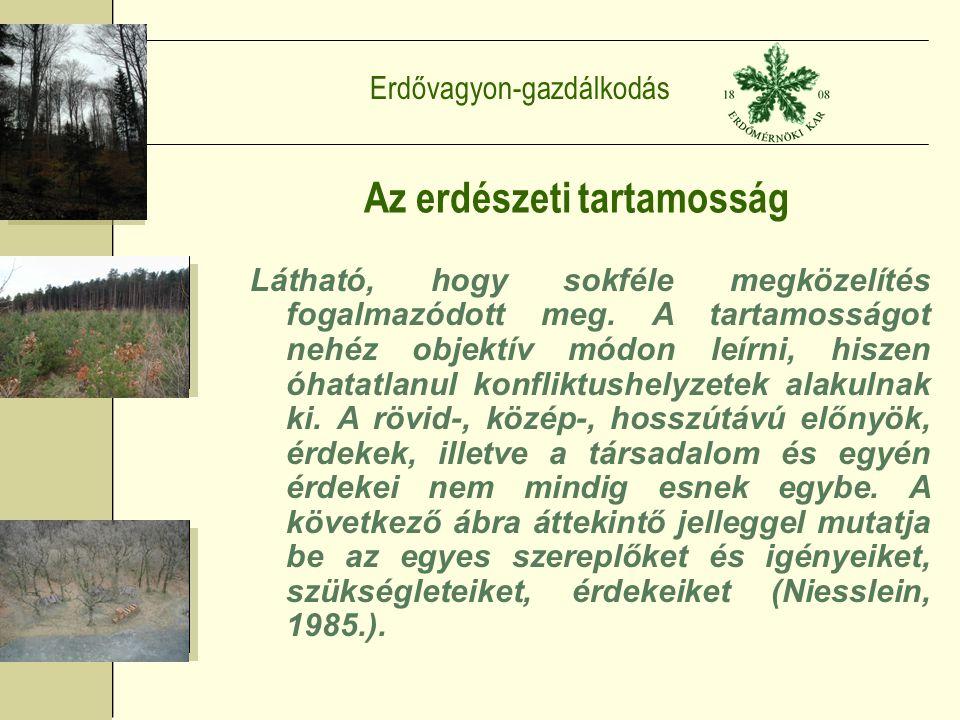Erdővagyon-gazdálkodás Az erdészeti tartamosság Látható, hogy sokféle megközelítés fogalmazódott meg.