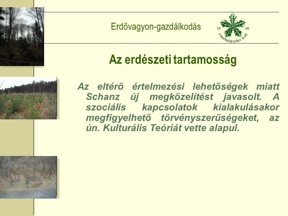 Erdővagyon-gazdálkodás Az erdészeti tartamosság Az eltérő értelmezési lehetőségek miatt Schanz új megközelítést javasolt.