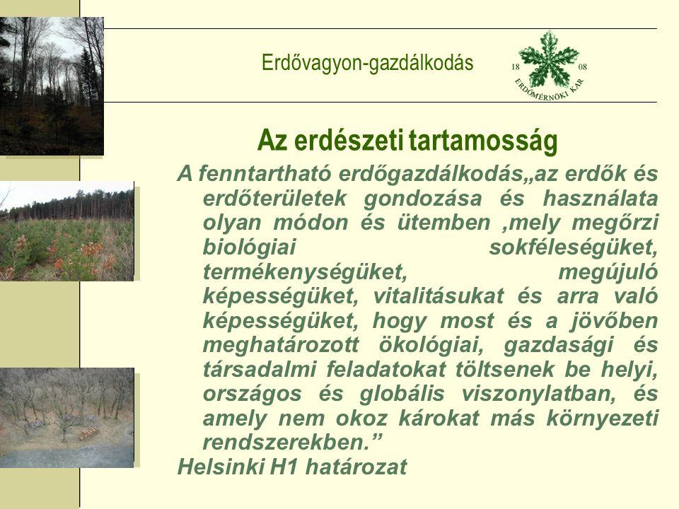 """Erdővagyon-gazdálkodás Az erdészeti tartamosság A fenntartható erdőgazdálkodás""""az erdők és erdőterületek gondozása és használata olyan módon és ütemben,mely megőrzi biológiai sokféleségüket, termékenységüket, megújuló képességüket, vitalitásukat és arra való képességüket, hogy most és a jövőben meghatározott ökológiai, gazdasági és társadalmi feladatokat töltsenek be helyi, országos és globális viszonylatban, és amely nem okoz károkat más környezeti rendszerekben. Helsinki H1 határozat"""