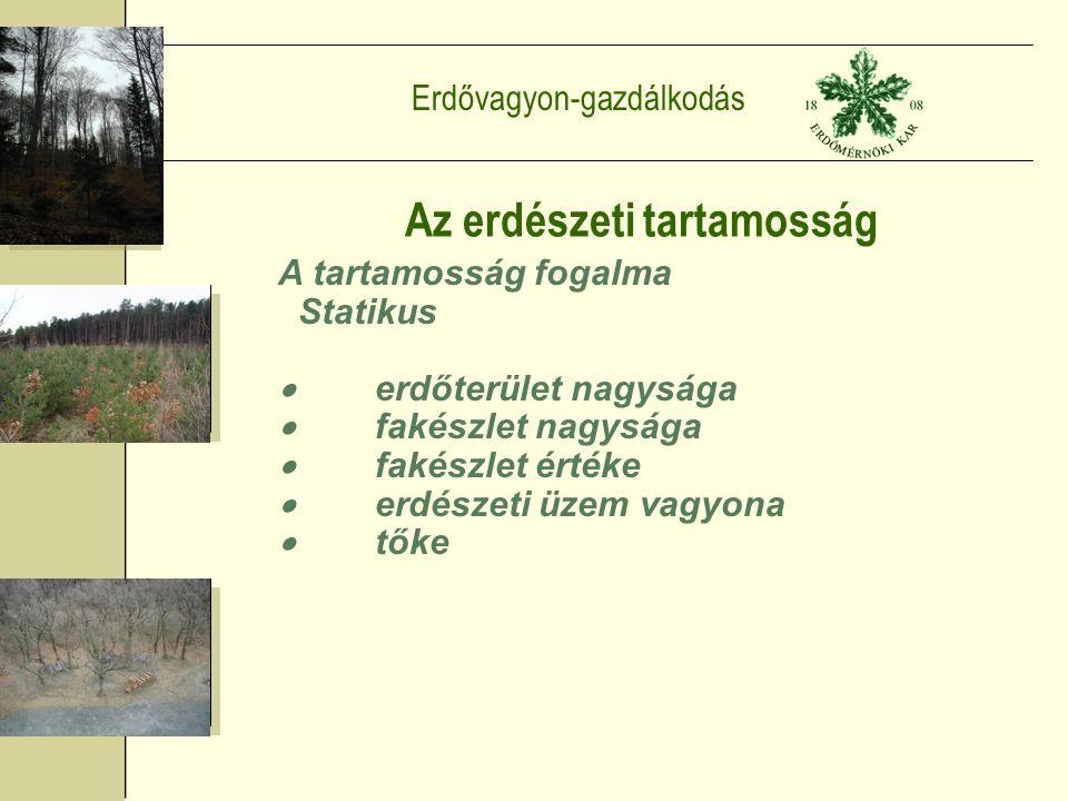 Erdővagyon-gazdálkodás Az erdészeti tartamosság A tartamosság fogalma Statikus  erdőterület nagysága  fakészlet nagysága  fakészlet értéke  erdészeti üzem vagyona  tőke