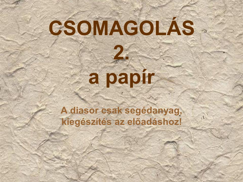 CSOMAGOLÁS 2. a papír A diasor csak segédanyag, kiegészítés az előadáshoz!