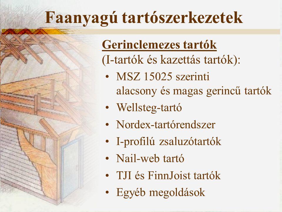 Gerinclemezes tartók (I-tartók és kazettás tartók): MSZ 15025 szerinti alacsony és magas gerincű tartók Wellsteg-tartó Nordex-tartórendszer I-profilú