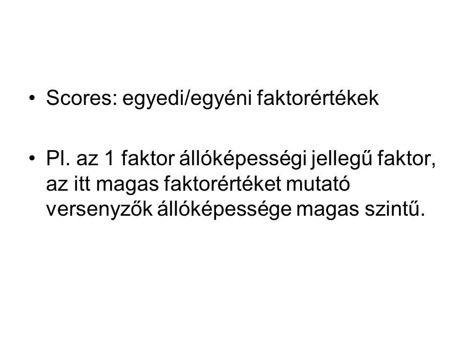 Scores: egyedi/egyéni faktorértékek Pl.