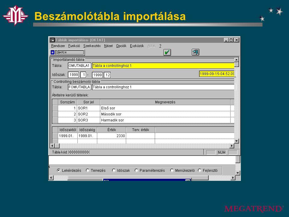 Beszámolótábla importálása
