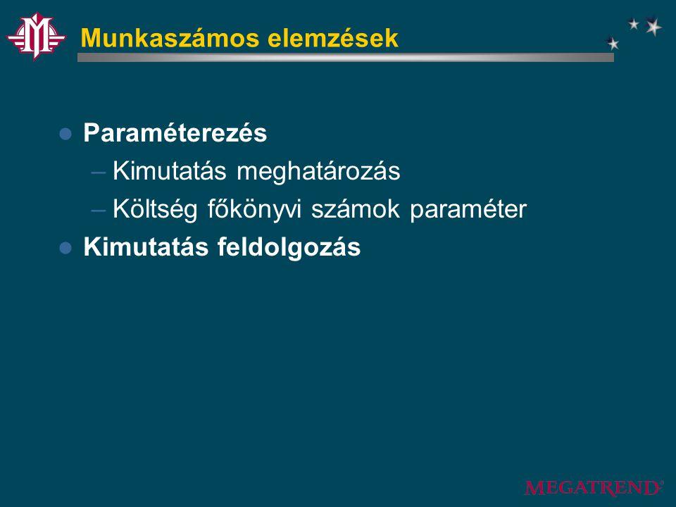 Munkaszámos elemzések Paraméterezés –Kimutatás meghatározás –Költség főkönyvi számok paraméter Kimutatás feldolgozás