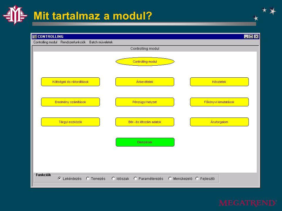 Controlling felépítése Grafikus controlling Költségfelosztás Költséglevezetés Munkaszámos elemzések Mutatószámos elemzések