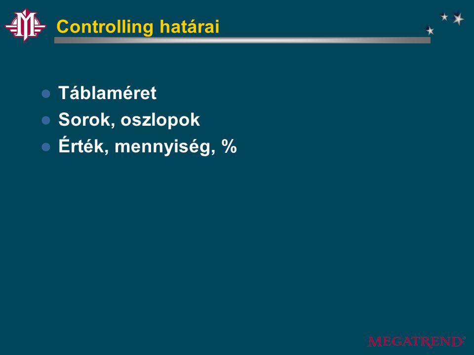 Controlling határai Táblaméret Sorok, oszlopok Érték, mennyiség, %