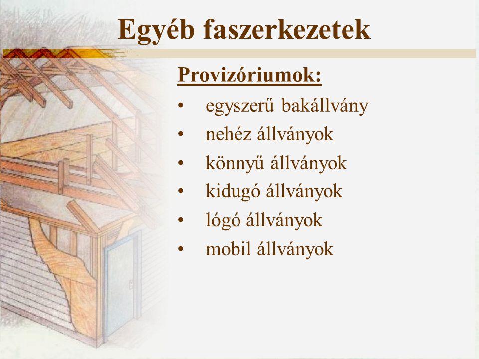 egyszerű bakállvány nehéz állványok könnyű állványok kidugó állványok lógó állványok mobil állványok Provizóriumok: Egyéb faszerkezetek