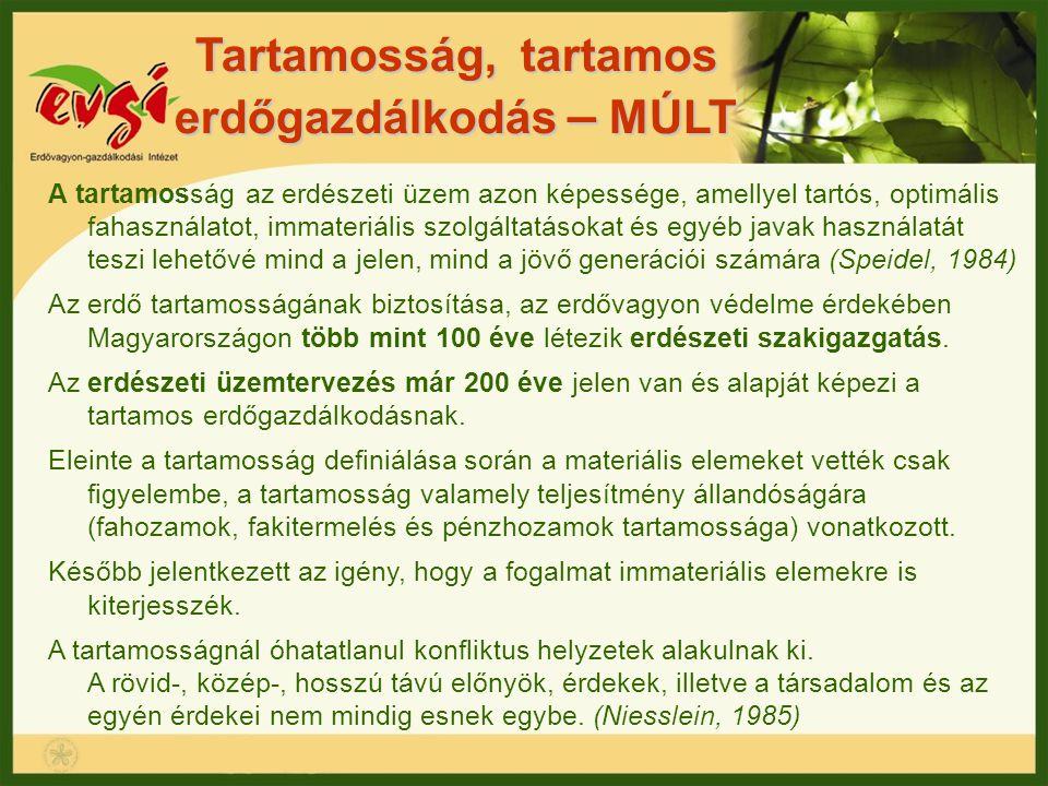 Tartamosság, tartamos erdőgazdálkodás – MÚLT A tartamosság az erdészeti üzem azon képessége, amellyel tartós, optimális fahasználatot, immateriális sz