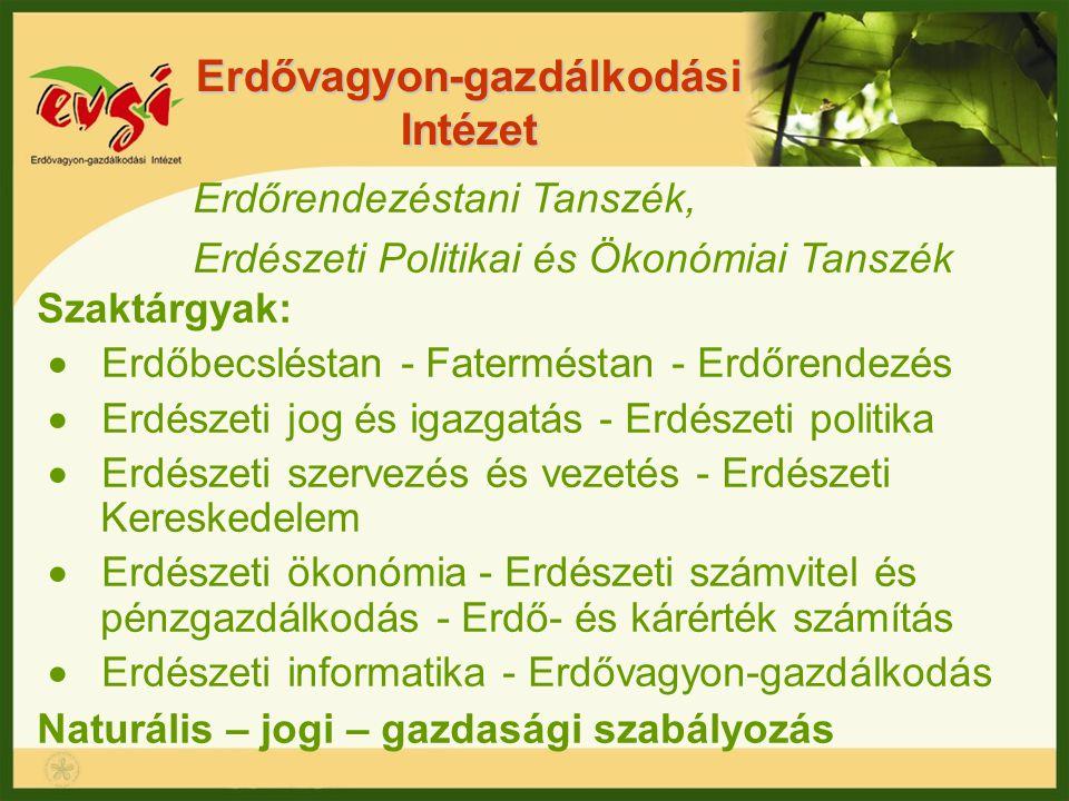 Erdővagyon-gazdálkodási Intézet Erdőrendezéstani Tanszék, Erdészeti Politikai és Ökonómiai Tanszék Szaktárgyak:  Erdőbecsléstan - Faterméstan - Erdőr