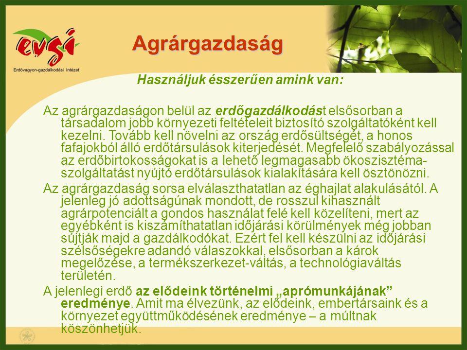 Agrárgazdaság Használjuk ésszerűen amink van: Az agrárgazdaságon belül az erdőgazdálkodást elsősorban a társadalom jobb környezeti feltételeit biztosí