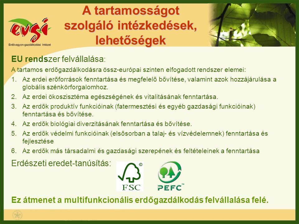 A tartamosságot szolgáló intézkedések, lehetőségek EU rendszer felvállalása : A tartamos erdőgazdálkodásra össz-európai szinten elfogadott rendszer el