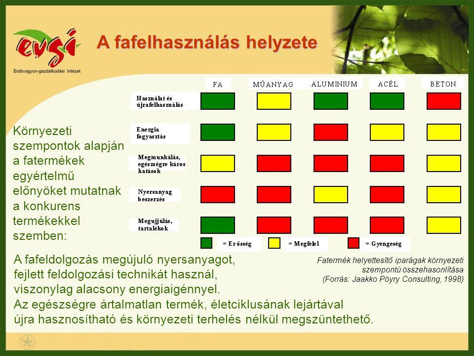 A fafelhasználás helyzete A fafeldolgozás megújuló nyersanyagot, fejlett feldolgozási technikát használ, viszonylag alacsony energiaigénnyel. Az egész