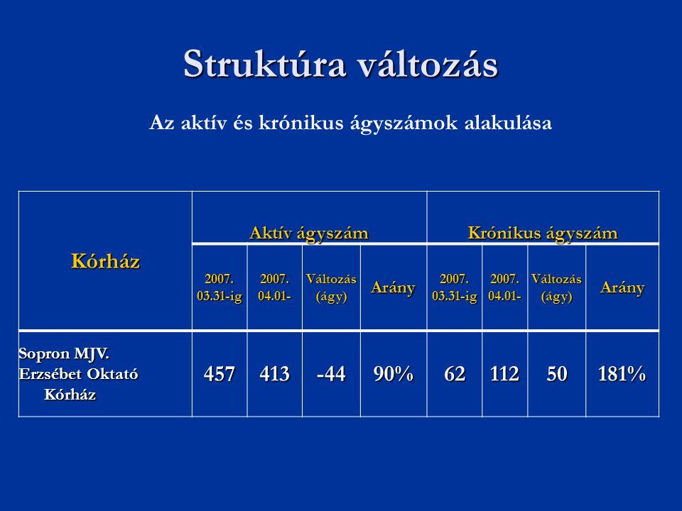 Struktúra változás Az aktív és krónikus ágyszámok alakulása Kórház Aktív ágyszám Krónikus ágyszám 2007.03.31-ig2007.04.01-Változás(ágy)Arány2007.03.31