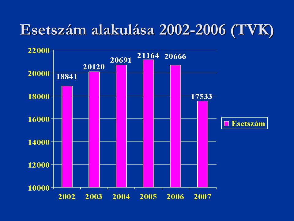 Esetszám alakulása 2002-2006 (TVK)