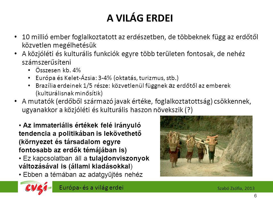 A VILÁG ERDEI 10 millió ember foglalkoztatott az erdészetben, de többeknek függ az erdőtől közvetlen megélhetésük A közjóléti és kulturális funkciók egyre több területen fontosak, de nehéz számszerűsíteni Összesen kb.