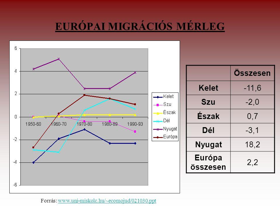 EURÓPAI MIGRÁCIÓS MÉRLEG Összesen Kelet-11,6 Szu-2,0 Észak0,7 Dél-3,1 Nyugat18,2 Európa összesen 2,2 Forrás: www.uni-miskolc.hu/~ecomojud/021030.pptwww.uni-miskolc.hu/~ecomojud/021030.ppt