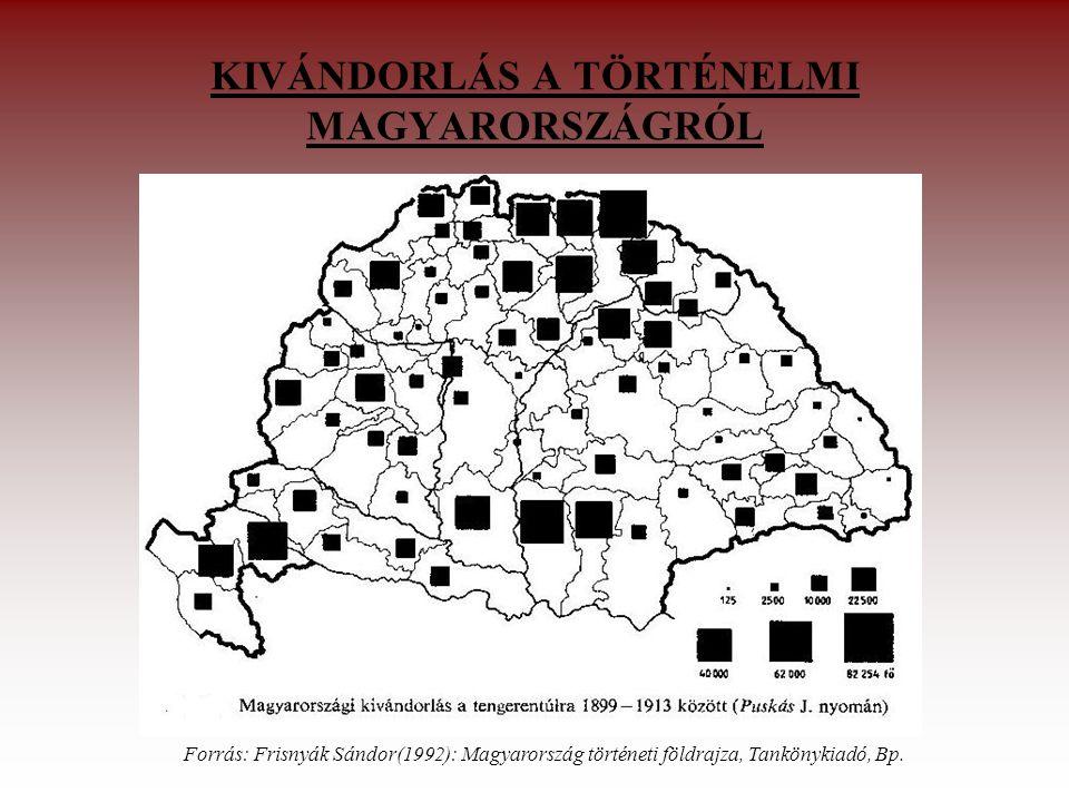 KIVÁNDORLÁS A TÖRTÉNELMI MAGYARORSZÁGRÓL Forrás: Frisnyák Sándor(1992): Magyarország történeti földrajza, Tankönykiadó, Bp.