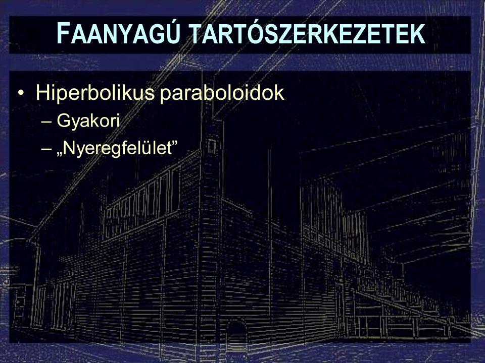 """F AANYAGÚ TARTÓSZERKEZETEK Hiperbolikus paraboloidok –Gyakori –""""Nyeregfelület"""