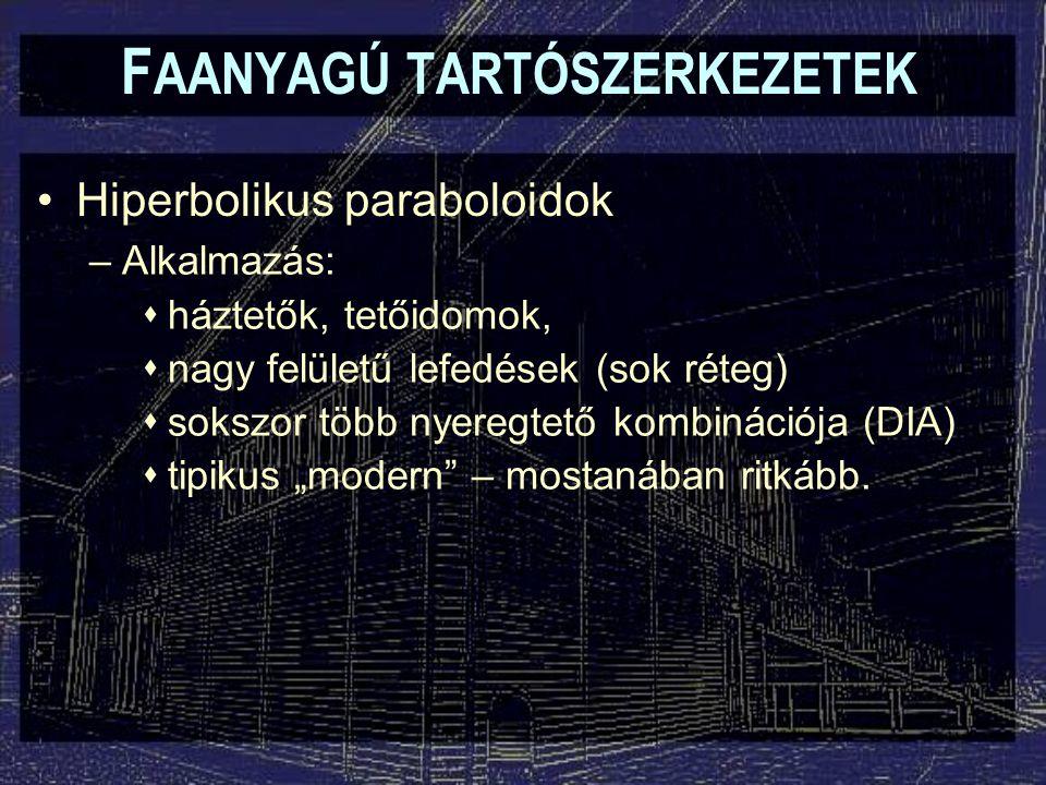 """F AANYAGÚ TARTÓSZERKEZETEK Hiperbolikus paraboloidok –Alkalmazás:  háztetők, tetőidomok,  nagy felületű lefedések (sok réteg)  sokszor több nyeregtető kombinációja (DIA)  tipikus """"modern – mostanában ritkább."""