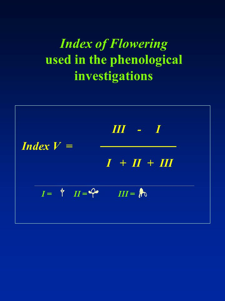 III - I Index V = I + II + III Index of Flowering used in the phenological investigations I =II =III =