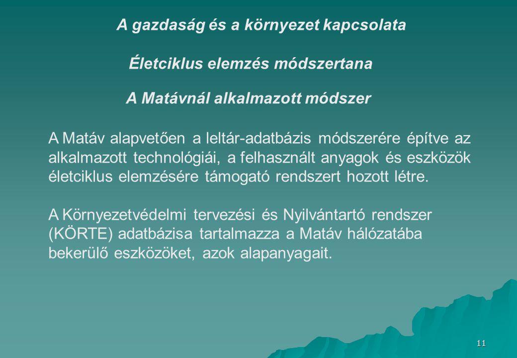 11 Életciklus elemzés módszertana A gazdaság és a környezet kapcsolata A Matáv alapvetően a leltár-adatbázis módszerére építve az alkalmazott technológiái, a felhasznált anyagok és eszközök életciklus elemzésére támogató rendszert hozott létre.