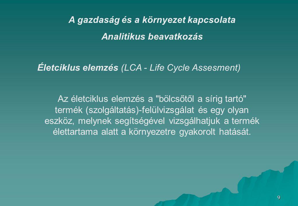 9 Analitikus beavatkozás Életciklus elemzés (LCA - Life Cycle Assesment) Az életciklus elemzés a bölcsőtől a sírig tartó termék (szolgáltatás)-felülvizsgálat és egy olyan eszköz, melynek segítségével vizsgálhatjuk a termék élettartama alatt a környezetre gyakorolt hatását.