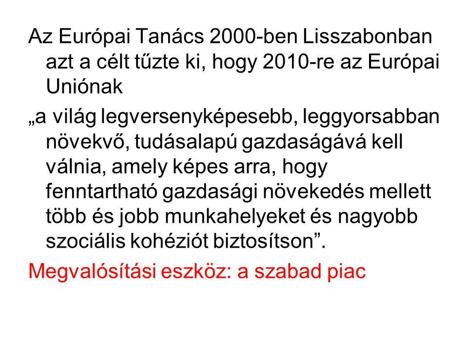 """Az Európai Tanács 2000-ben Lisszabonban azt a célt tűzte ki, hogy 2010-re az Európai Uniónak """"a világ legversenyképesebb, leggyorsabban növekvő, tudás"""