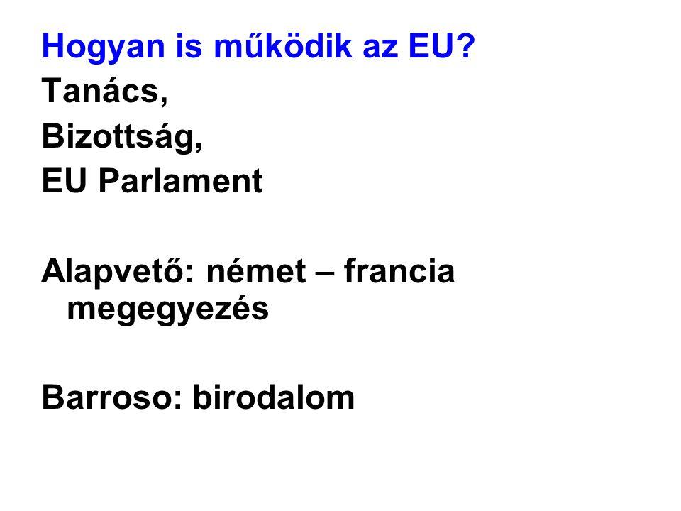Hogyan is működik az EU? Tanács, Bizottság, EU Parlament Alapvető: német – francia megegyezés Barroso: birodalom