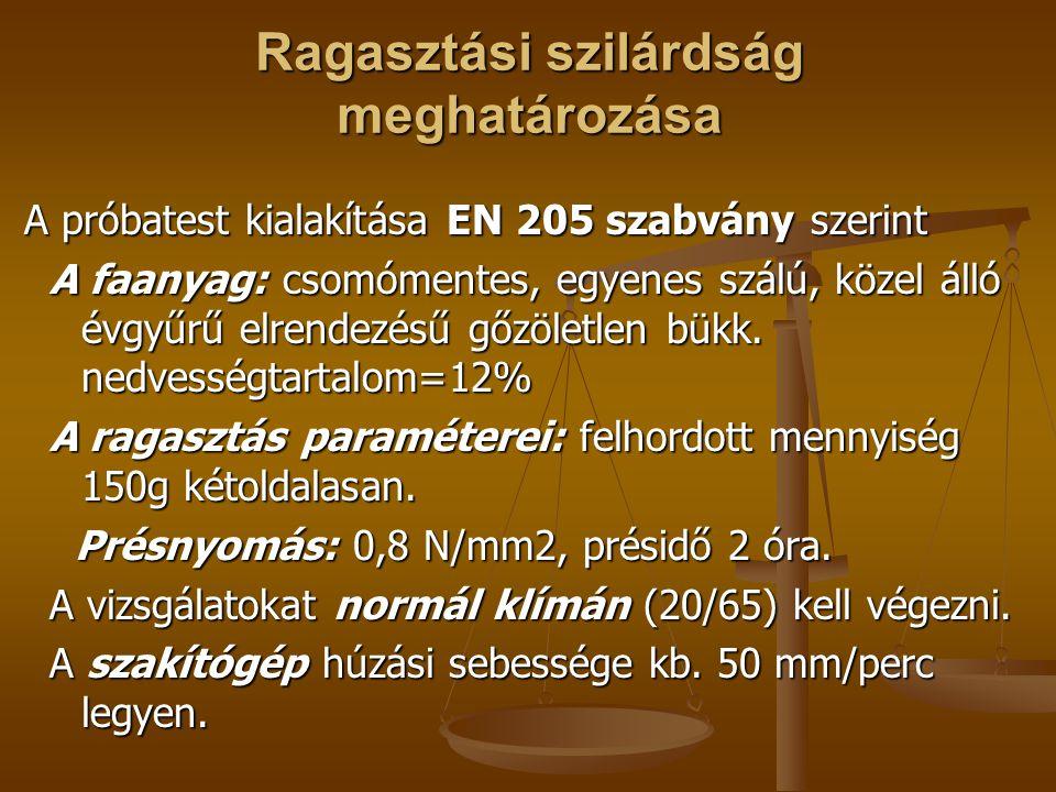 Ragasztási szilárdság meghatározása A próbatest kialakítása EN 205 szabvány szerint A próbatest kialakítása EN 205 szabvány szerint A faanyag: csomómentes, egyenes szálú, közel álló évgyűrű elrendezésű gőzöletlen bükk.