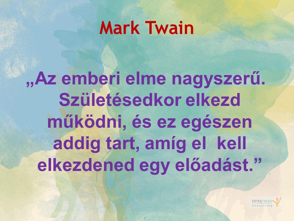 """Mark Twain """"Az emberi elme nagyszerű. Születésedkor elkezd működni, és ez egészen addig tart, amíg el kell elkezdened egy előadást."""""""
