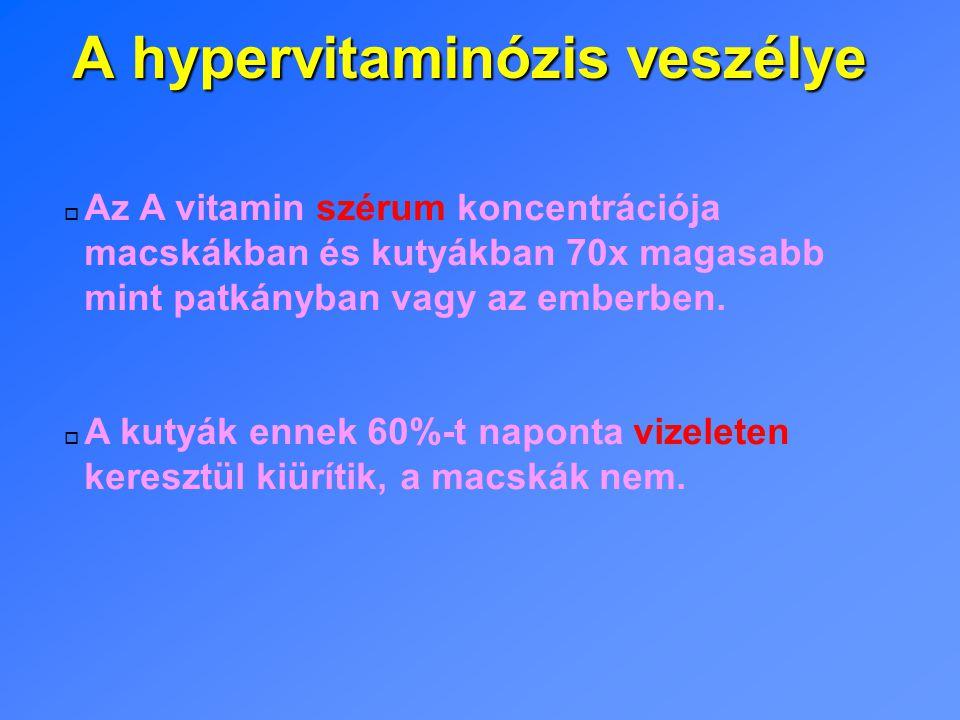 A hypervitaminózis veszélye o Az A vitamin szérum koncentrációja macskákban és kutyákban 70x magasabb mint patkányban vagy az emberben.