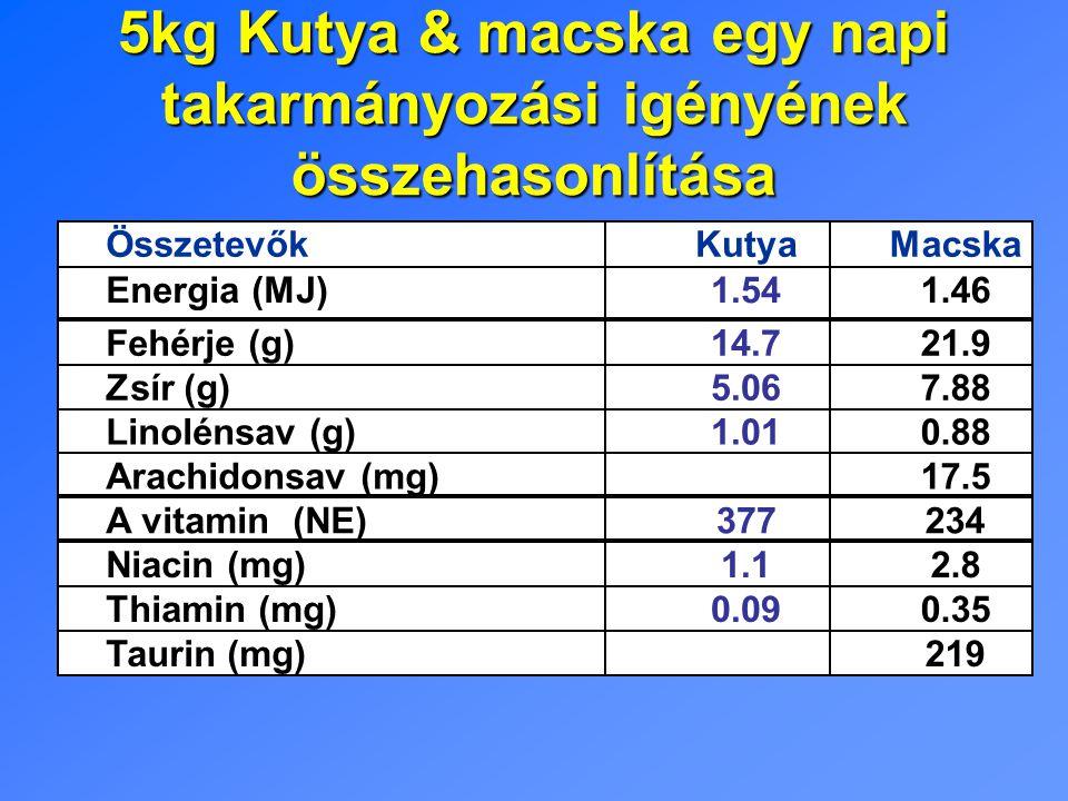 5kg Kutya & macska egy napi takarmányozási igényének összehasonlítása ÖsszetevőkKutyaMacska Energia (MJ)1.541.46 Fehérje (g)14.721.9 Zsír (g)5.067.88 Linolénsav (g)1.010.88 Arachidonsav (mg) 17.5 A vitamin (NE)377234 Niacin (mg)1.12.8 Thiamin (mg)0.090.35 Taurin (mg) 219