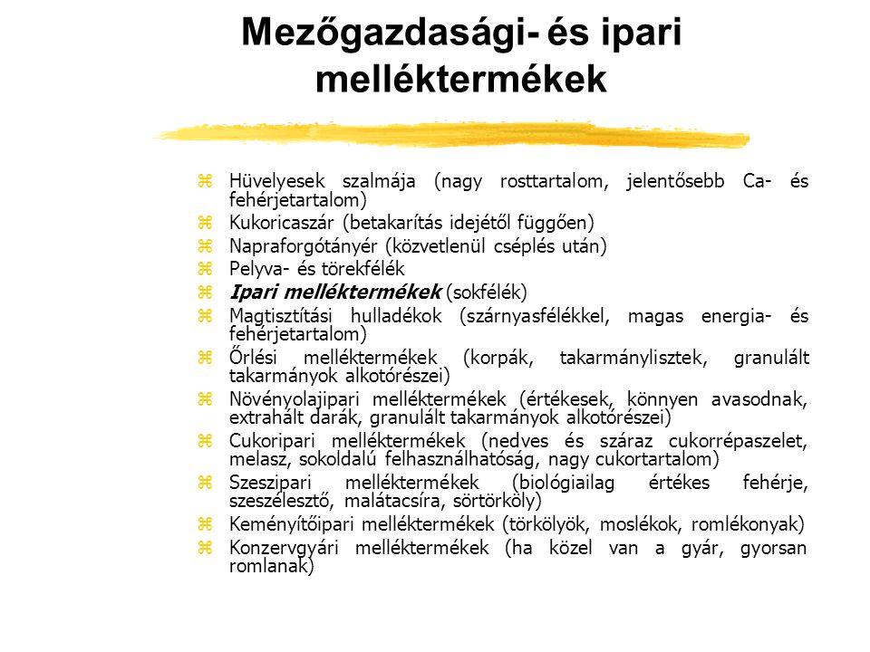 Mezőgazdasági- és ipari melléktermékek zHüvelyesek szalmája (nagy rosttartalom, jelentősebb Ca- és fehérjetartalom) zKukoricaszár (betakarítás idejétő