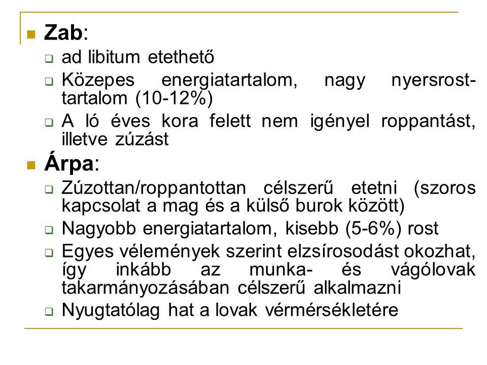 Zab:  ad libitum etethető  Közepes energiatartalom, nagy nyersrost- tartalom (10-12%)  A ló éves kora felett nem igényel roppantást, illetve zúzást