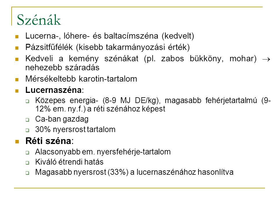 Szénák Lucerna-, lóhere- és baltacímszéna (kedvelt) Pázsitfűfélék (kisebb takarmányozási érték) Kedveli a kemény szénákat (pl. zabos bükköny, mohar) 