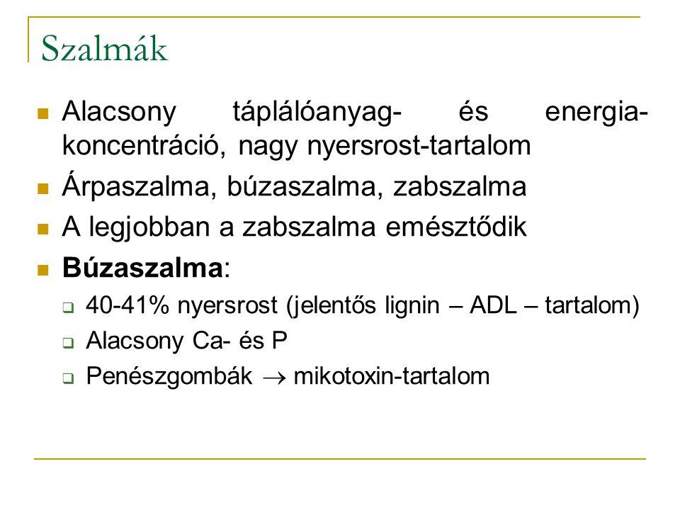 Szalmák Alacsony táplálóanyag- és energia- koncentráció, nagy nyersrost-tartalom Árpaszalma, búzaszalma, zabszalma A legjobban a zabszalma emésztődik Búzaszalma:  40-41% nyersrost (jelentős lignin – ADL – tartalom)  Alacsony Ca- és P  Penészgombák  mikotoxin-tartalom