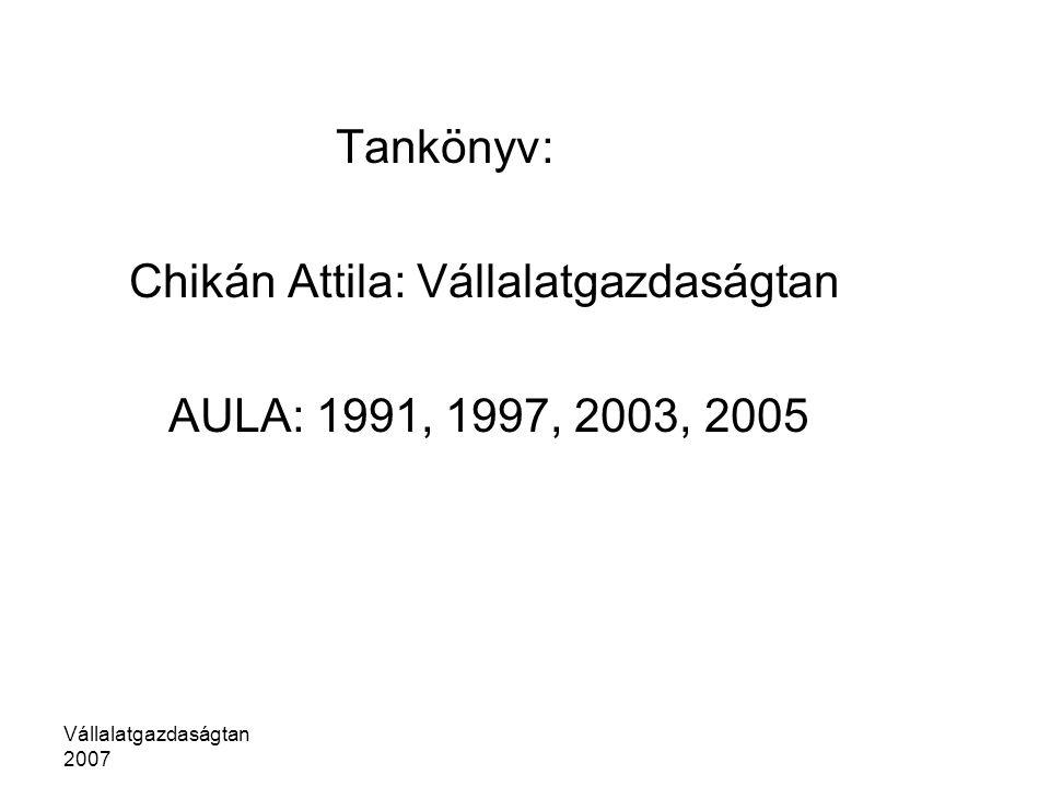 Vállalatgazdaságtan 2007 Tankönyv: Chikán Attila: Vállalatgazdaságtan AULA: 1991, 1997, 2003, 2005