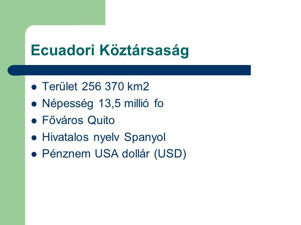 Ecuadori Köztársaság Terület 256 370 km2 Népesség 13,5 millió fo Főváros Quito Hivatalos nyelv Spanyol Pénznem USA dollár (USD)