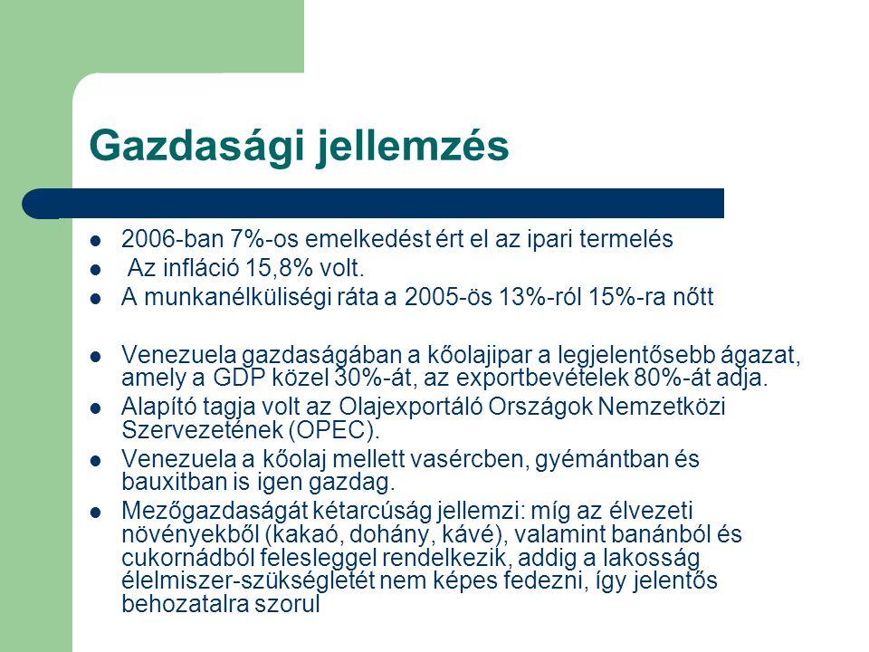 Gazdasági jellemzés 2006-ban 7%-os emelkedést ért el az ipari termelés Az infláció 15,8% volt.