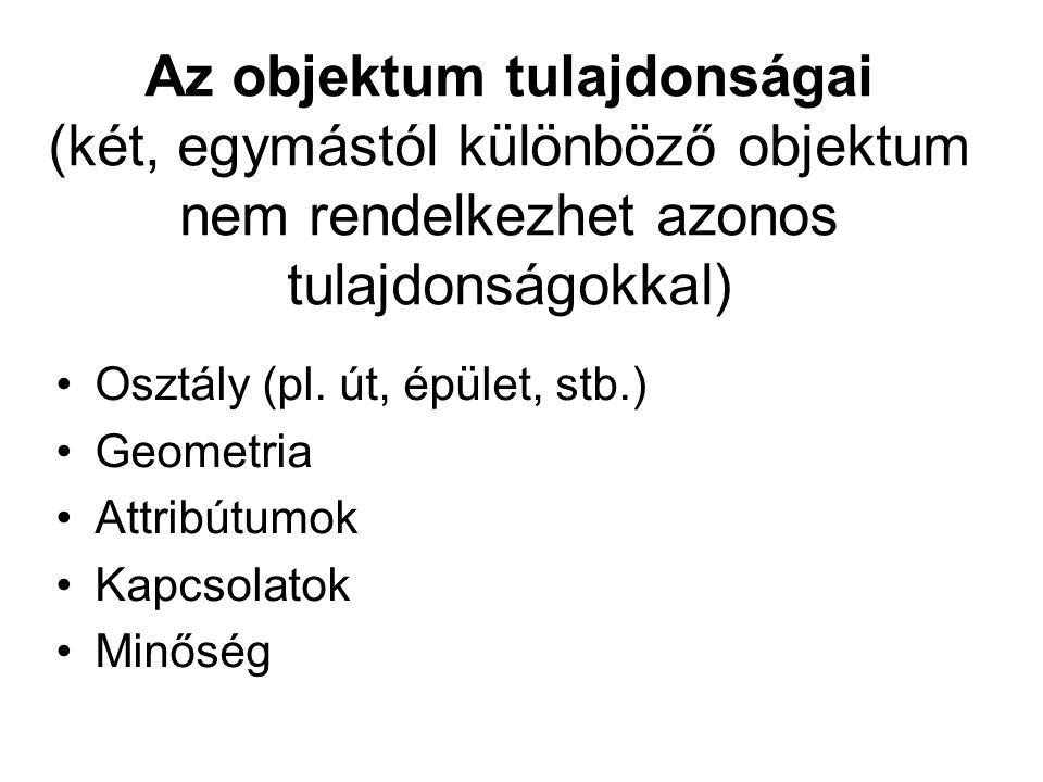 Az objektum tulajdonságai (két, egymástól különböző objektum nem rendelkezhet azonos tulajdonságokkal) Osztály (pl.