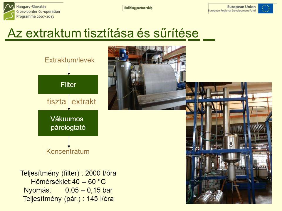 Az extraktum tisztítása és sűrítése Filter Vákuumos párologtató Extraktum/levek Koncentrátum tiszta extrakt Teljesítmény (filter) : 2000 l/óra Hőmérsé