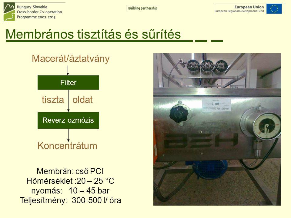 Membrános tisztítás és sűrítés Filter Reverz ozmózis Membrán: cső PCI Hőmérséklet :20 – 25 °C nyomás: 10 – 45 bar Teljesítmény: 300-500 l/ óra Macerát